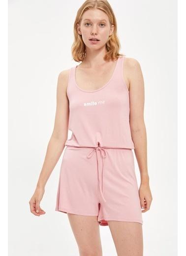Defacto –Fit Beli Büzgülü Viskon Tulum Pijama Pembe